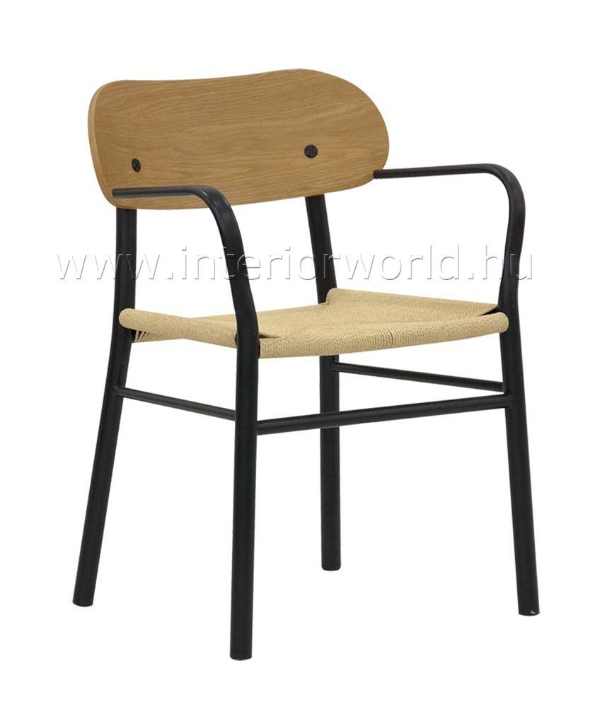 fekete fonott karfás szék